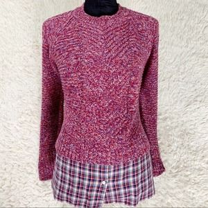 MARGARET O'LEARY Red Sweater Faux Top Plaid Layer